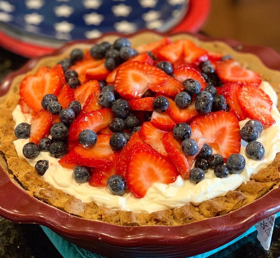 Strawberry & Blueberry Pretzel Pie